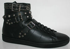 $995 NIB YSL YVES SAINT LAURENT WOLLY HIGH TOP LEATHER STUDDED TRAINERS SNEAKERS