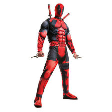 Deadpool Cosplay Costume Halloween Adult Men Marvel Avengers Muscle Chest Red