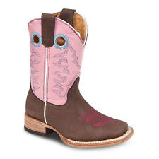 Kids Youth Midnight Brown/Pink Rodeo Western Leather Cowboy Boot 3100 Size 7-1.5