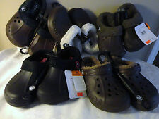 NEW KIDS YOUTH AGE 3-5 CROCS BLITZEN LINED SHOES CLOGS BLACK BROWN SIZE J1