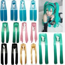 80-100cm Long Vocaloid Hatsune Miku Wig Women Cosplay 2 Ponytails Wig Blue Green