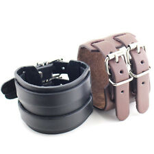 Fashion Rock Punk Bel Men's PU Leather 2 Layer Belt Buckle Cuff Bracelet Gift