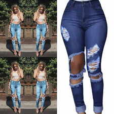 Women's Destroyed Ripped Skinny Stretch Denim High Waisted Slim Fit Jeans Pants