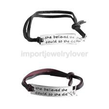 Fashion Style Double Layer PU Leather Engraving Bracelet Alloy Bar with Tag