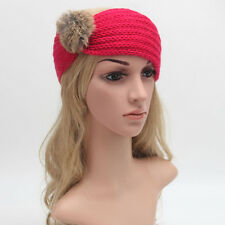 Women Knitting Crochet Hairball Headband Handmade Keep Warm Hairband Headwrap