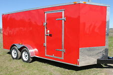 7x16 Enclosed Trailer Cargo V-Nose New 14 Utility Motorcycle 6 Landscape 18 New