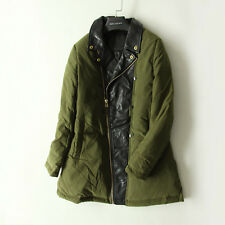 women green color winter warm coat leather arms down jacket bust:90cm/35.43inchs
