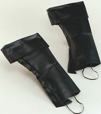 Adult  Black Boot Top Covers Fancy Dress Accessory Pirate, Santa Leather Look