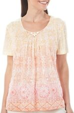 NWT Alfred Dunner Ladies Key Largo Top W/ Beaded Accents -MSRP $54- Medium