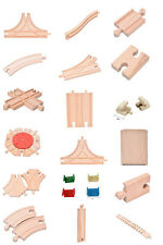 LOT of Wooden Train Brio Compatible Assorted Track Wood Pieces Kid Toys abus