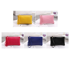 Women Zip PU Leather Clutch Lady Rhombic Handbag Wallet Purse Phone Card Coin SP