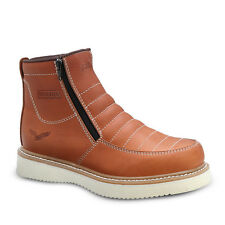 """Mens Light Brown 6"""" Mocc Toe Leather WP Work Boots BONANZA 655 Size 5-13 (D, M)"""