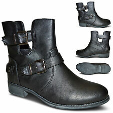Womens Ladies Cut Out Low Heel Buckle Straps Biker Ankle Boots Shoes Size UK 3-8