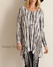 Entro USA Charcoal Tie Dye Organic Bamboo Tunic Top Boho Fringe Sides  S-M-L