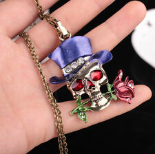 Hot Sale Silver Plated Pendent Jewelry Unisex Décor Gifts Skull Flower Necklace