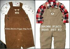 * NWT NEW BOYS CARTERS 2PC Overalls DOG OR Bear winter OUTFIT SET 3M