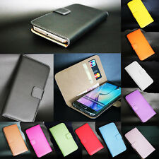 For HTC Models New Genuine Real Leather Flip Wallet Card Slot Stent Case Cover