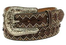 Nocona Western Womens Belt Leather Croco Diamonds Studs Brown  N3410602