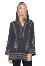Monoreno Charcoal Gray Embroidered Hoodie Tunic Top