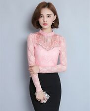 New Fashion Womens Long Sleeve Rhinestone Lace Shirts Blouses Casual Tops