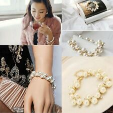 Fashion Women Pearl Crystal Rhinestone Cuff Bracelet Bangle Alloy Jewelry Gift