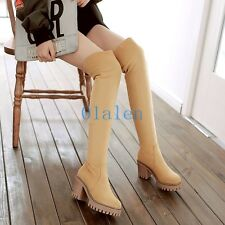 Winter Womens Over Knee Boot Cuffed Faux Suede Pull On Riding Platform Plus Size