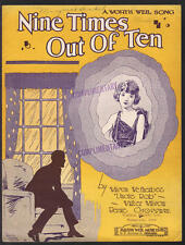 Nine Times Out Of Ten 1927 Chicago IL Vintage Sheet Music