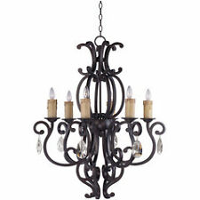 Maxim 31005CU/CRY083 Richmond 6-Light Chandelier Crystal Fixture Colonial Umber