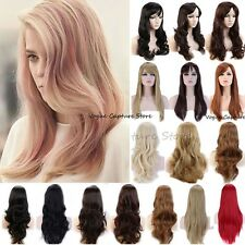 Women Long Full Wig Straight Curly Hair Halloween Costume Dress Cosplay Party