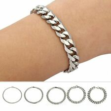 Fashion Mens Boys Chain Silver Tone Curb Link Stainless Steel Bracelet Gift