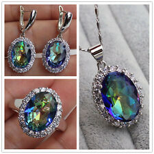 18K White Gold Filled-Oval MYSTICAL Topaz Pendant Necklace Earrings Ring Set New