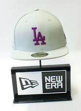 New Era 59FIFTY MLB Los Angeles Dodger Purple Logo Grey Baseball Hat Fitted Cap