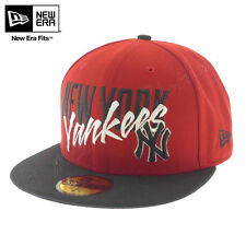 """NEW ERA HAT 59FIFTY Cap """"Wordfront"""" YANKEES Cap HAT Red NEW York NY"""