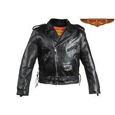 Mens Classic Police Style Motorcycle Black Leather Jacket With Side Laces
