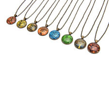 Vintage Time Stone Necklace Colorful Tree Of Life Necklace Steampunk Necklace