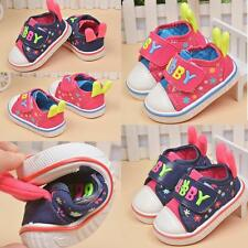Baby Toddler Canvas Prewalker Softsole Boy Girl Flat Casual Walking Shoes