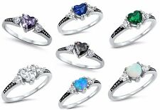 Sterling Silver 925 PRETTY HEART LOVE CZ STONES DESIGN PROMISE RINGS SIZES 2-13