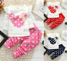 2Pcs Baby Toddler Girls Cotton T Shirt Tops+Pants Outfits Kids Polka Dot Clothes