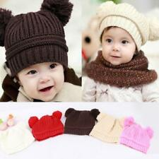 Soft Baby Girl/Boy Winter Warm Crochet Knit Hats Beanie Toddler Double Ball Caps