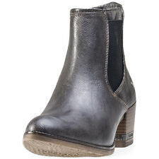 Mustang Snake Finish Heel Womens Ankle Boots Dark Grey New Shoes