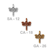 TierraCast Small Dragonfly Charm - plated pewter - choose from 3 finishes
