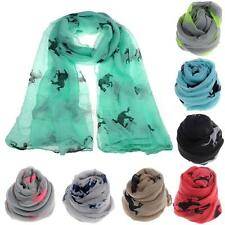 Fashion Women Ladies Running Horse Print Scarf Shawl Warm Wrap Stole Voile Gift