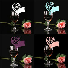50x Love Heart Name Place Cards For Wedding Party Table Wine Glass Decoration fo