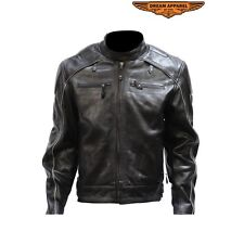 Mens Motorcycle Black Leather Jacket With Racer Collar And Reflective Piping