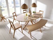 Malmo Dining Table Set Chairs Bench Oak Veneer & Solid Wood - Scandinavian Style