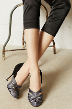 Anthropologie High Halls Pumps Sz 10, Black Suede Glitter Heels By Miss Albright