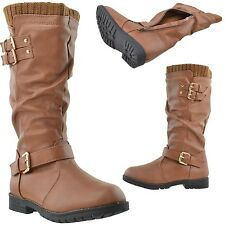 Girls Faux Leather Knee High Boots Knit Calf w/ Gold Vintage Buckle Accent Brown