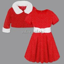 Xmas Newborn Baby Girls Tutu Polka Dots Dress Clothes + Coat Outfit Set Costume