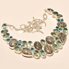 """DENDRITE OPAL & FACETED SWISS BLUE TOPAZ - 925 SILVER JEWELRY NECKLACE 18"""""""