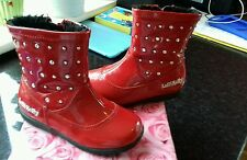 Girls lelly Kelly red patent diamonte boots infant size 7 Eu 25